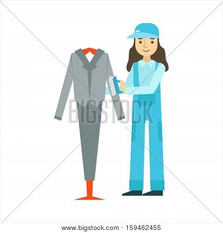 Woman Dusting The Suit With Brush, Cleaning Service Professional Cleaner In Uniform Cleaning In The Household. Person Working In Housekeeping At Work Doing Clean Up Vector Illustration.