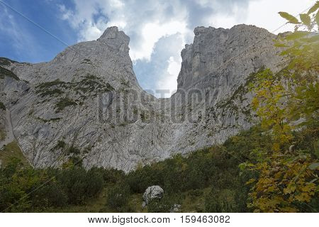 The Ellmauer Tor gate in the Wild Kaiser mountains in Austria