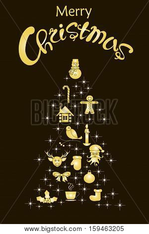 Typography banner with stylized gold Christmas tree and hand drawing lettering Merry Christmas on black stock vector illustration