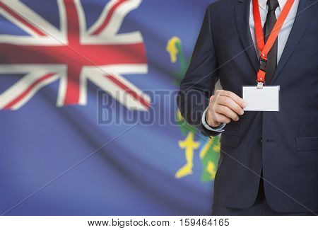 Businessman Holding Name Card Badge On A Lanyard With A National Flag On Background - Pitcairn Islan