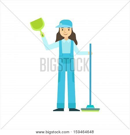 Woman Standing With Broom And Duster, Cleaning Service Professional Cleaner In Uniform Cleaning In The Household. Person Working In Housekeeping At Work Doing Clean Up Vector Illustration.