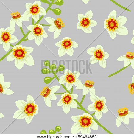 Frankincense blossoming flower seamless pattern vector. Beautiful boswellia tree flowers on grey background. For greetings and postcards banners textile prints decoration packing.