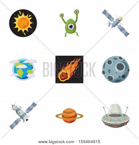 Universe icons set. Cartoon illustration of 9 universe vector icons for web