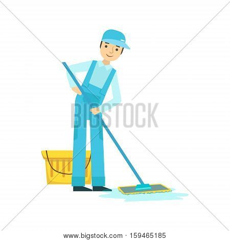 Man With Bucket nd Mop Washing The Floor, Cleaning Service Professional Cleaner In Uniform Cleaning In The Household. Person Working In Housekeeping At Work Doing Clean Up Vector Illustration.