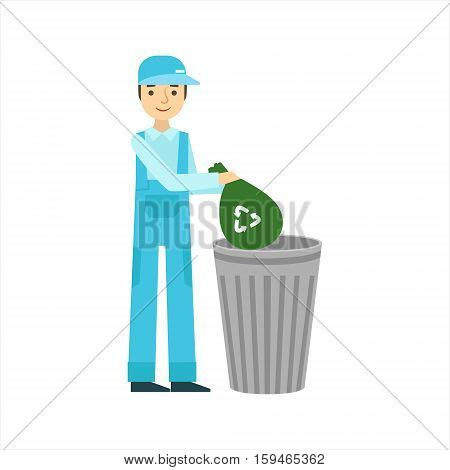 Man Throwing Garbage In Recycle Bin, Cleaning Service Professional Cleaner In Uniform Cleaning In The Household. Person Working In Housekeeping At Work Doing Clean Up Vector Illustration.
