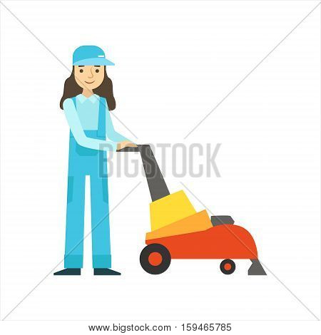 Woman Using High-Tech Hoover, Cleaning Service Professional Cleaner In Uniform Cleaning In The Household. Person Working In Housekeeping At Work Doing Clean Up Vector Illustration.