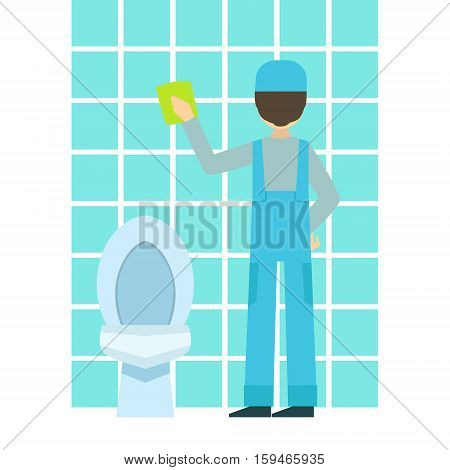 Man Washing Tiles In Bathroom, Cleaning Service Professional Cleaner In Uniform Cleaning In The Household. Person Working In Housekeeping At Work Doing Clean Up Vector Illustration.