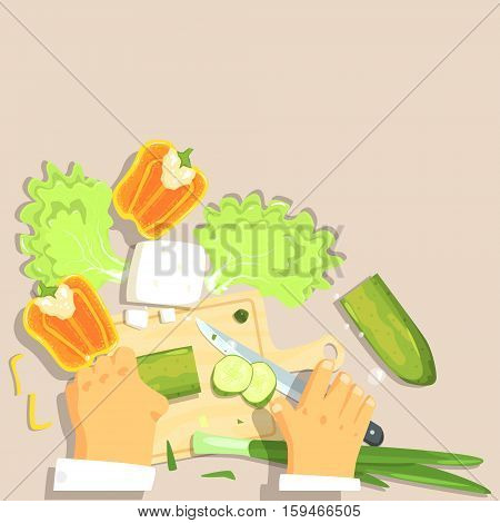 Hands Of Professional Cook Cutting Vegetable Ingredients For Greek Salad Cooking. Food Preparation Process In Restaurant Kitchen View From Above Cartoon Illustration.