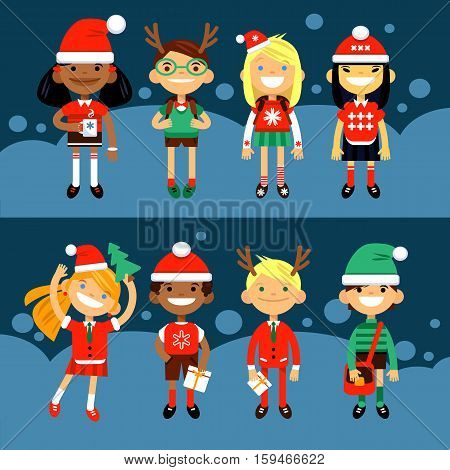 Set of characters elementary schoolchild, school students in Christmas costumes, the Fun characters in the New Year. Schoolboys and schoolgirls of different nationalities. Vector illustration of a flat design