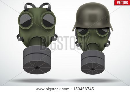 Set of Military gas masks with german helmet. Army defense symbol. Editable Vector illustration Isolated on white background.