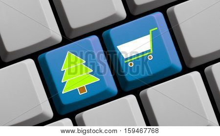 Christmas Shopping Symbols on computer keyboard online