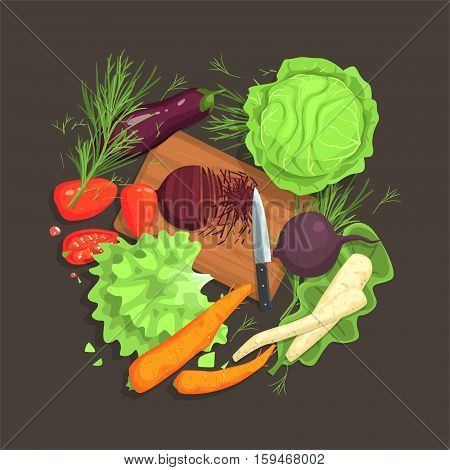 Still Life With Cooking Ingredients For Fresh Vegetarian Salad With Raw And Fresh Vegetables Places Around Cutting Board Illustration. Beetroot, Cabbage, Carrot, Eggplant And Other Products Of Healthy Vegan Diet.