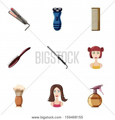 Barber icons set. Cartoon illustration of 9 barber vector icons for web