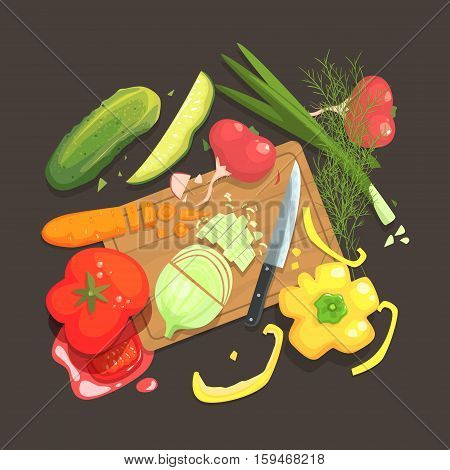 Still Life With Cooking Ingredients For Fresh Vegan Salad With Raw And Fresh Vegetables Places Around Cutting Board Illustration. Cucumber, Onion, Tomato Carrot And Other Products Of Healthy Vegetarian Diet.
