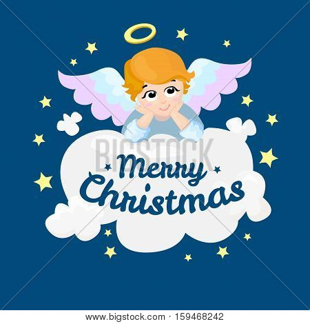 Baby angel vector cartoon character. Merry Christmas. Angel wings on a cloud. Greeting card. Cupid lying on a cloud isolated illustration. Eps 10.