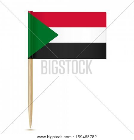 Sudan flag toothpick isolated on white background 10eps