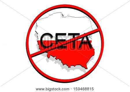 Anty Ceta - Comprehensive Economic And Trade Agreement On White Background, Poland Map
