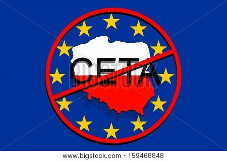 Anty Ceta - Comprehensive Economic And Trade Agreement On Euro Background, Poland Map