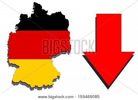 Germany Map On White Background And Red Arrow Down