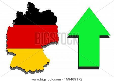 Germany Map On White Background And Green Arrow Rising