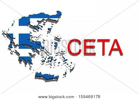 Ceta - Comprehensive Economic And Trade Agreement On White Background, Greece Map
