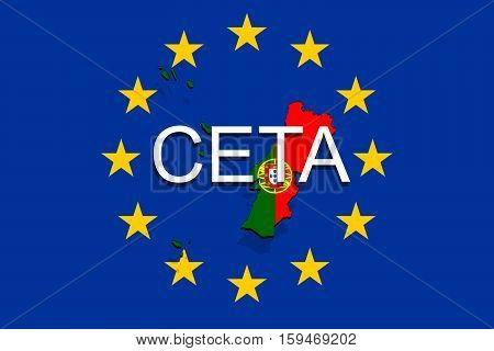 Ceta - Comprehensive Economic And Trade Agreement On Euro Union Background, Portugal Map