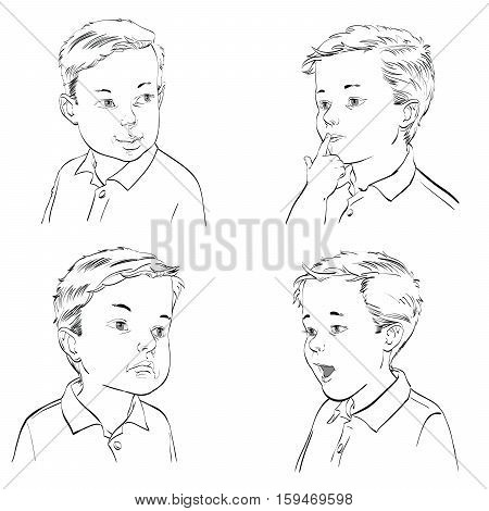 Set boy emotions, hand drawn vector illustration. Black and white image