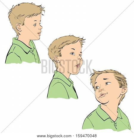 Three emotions of the boy, hand drawn vector illustration. The young man. Color image