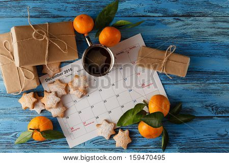 Calendar Or Christmas Day With Note Text Of Holiday ,concept For Christmas And New Year .