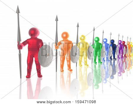 Color soldiers on white reflective background 3D illustration.
