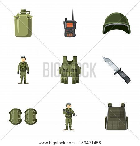 War icons set. Cartoon illustration of 9 war vector icons for web