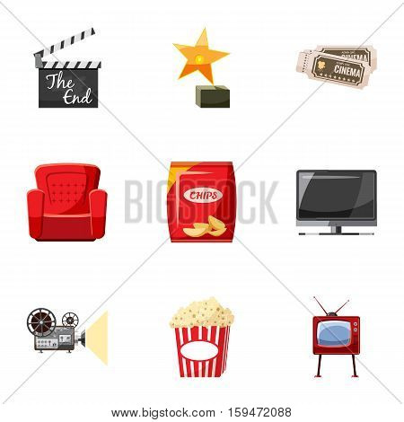Movie icons set. Cartoon illustration of 9 movie vector icons for web
