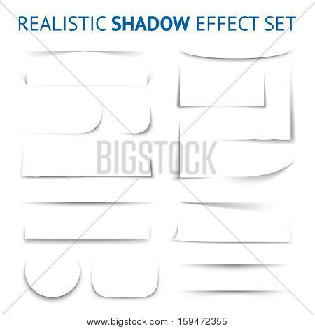 Realistic shadow effect collection with white paper sheet of different shapes and forms isolated vector illustration