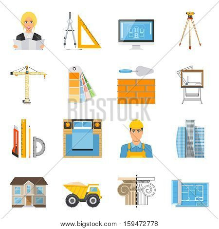 Architect flat colored icons collection with tools for measurement and drafting brick wall  crane facade decor elements isolated vector illustration