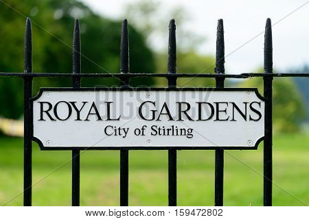 Street sign for Royal Gardens residential street in Stirling.