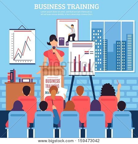 Business training template with lecturer audience at seminar on employee development in flat style vector illustration