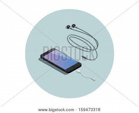 Vector isometric black smartphone with headphone adapter, 3d flat design phone, electronic devises icon