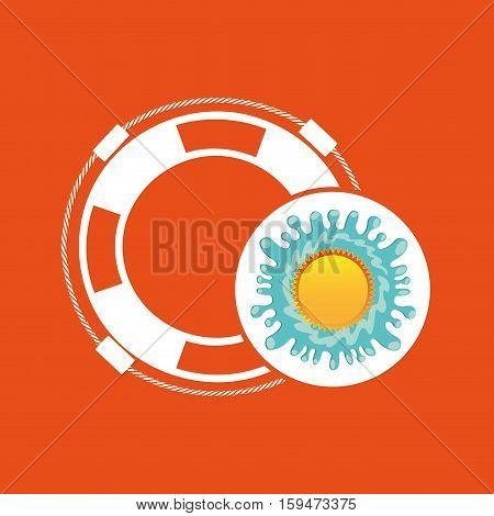life buoy summer vacation sun splashes label vector illustration eps 10