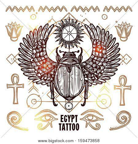 Occult Tattoo Sketch Poster. Beetle Hand Drawn Tattoo. Magic Modern Tattoo Vector Illustration. Ethnic Occult Tattoo Background. Egypt Occult Tattoo Design.