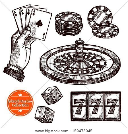 Hand drawn sketch casino collection with roulette cards chips jackpot dice elements vector illustration