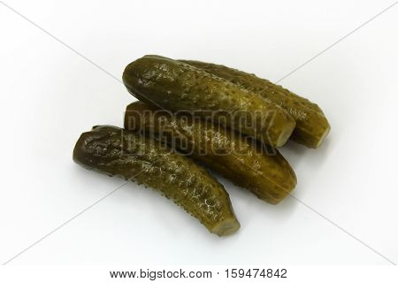 canning Pickled cucumbers on a white background.