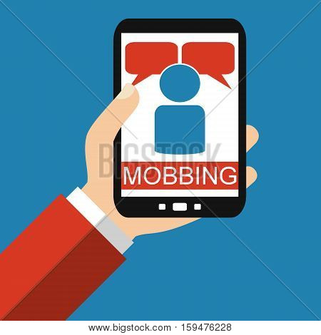 Hand holding Smartphone: Mobbing Bullying - Flat Design
