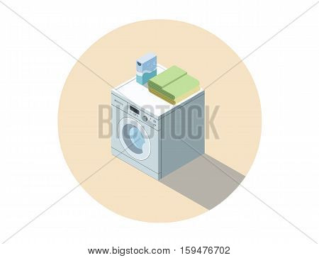 Vector isometric illustration of washing machine, washing clothes equipment, 3d flat design home object. Washer. Electronic appliances icon.