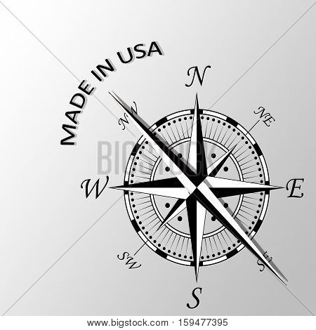 Illustration of made in USA written aside compass