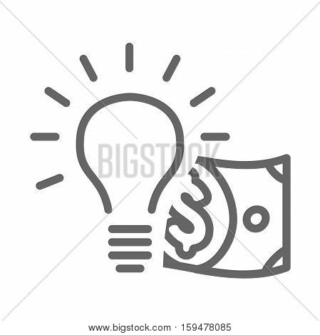 Dollar bill coming out of a lightbulb
