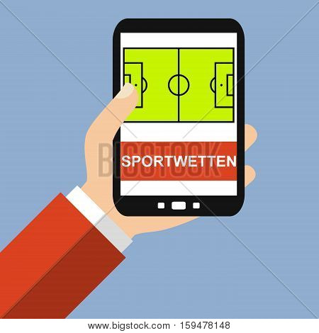 Hand holding Smartphone: Sports Betting in german language - Flat Design