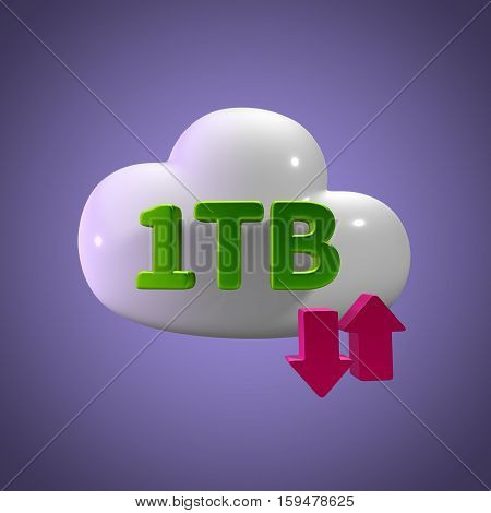 3D Rendering Cloud Data Upload Download illustration 1 TB Capacity
