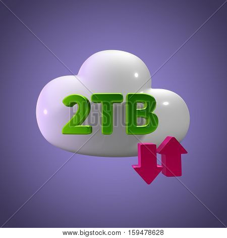 3D Rendering Cloud Data Upload Download illustration 2 TB Capacity