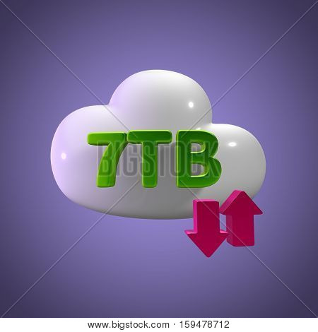 3D Rendering Cloud Data Upload Download illustration 7 TB Capacity