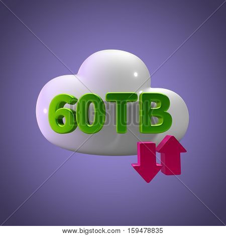 3D Rendering Cloud Data Upload Download illustration 60 TB Capacity